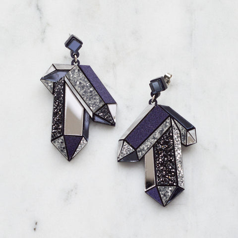 Textured Amethyst Crystal Earrings