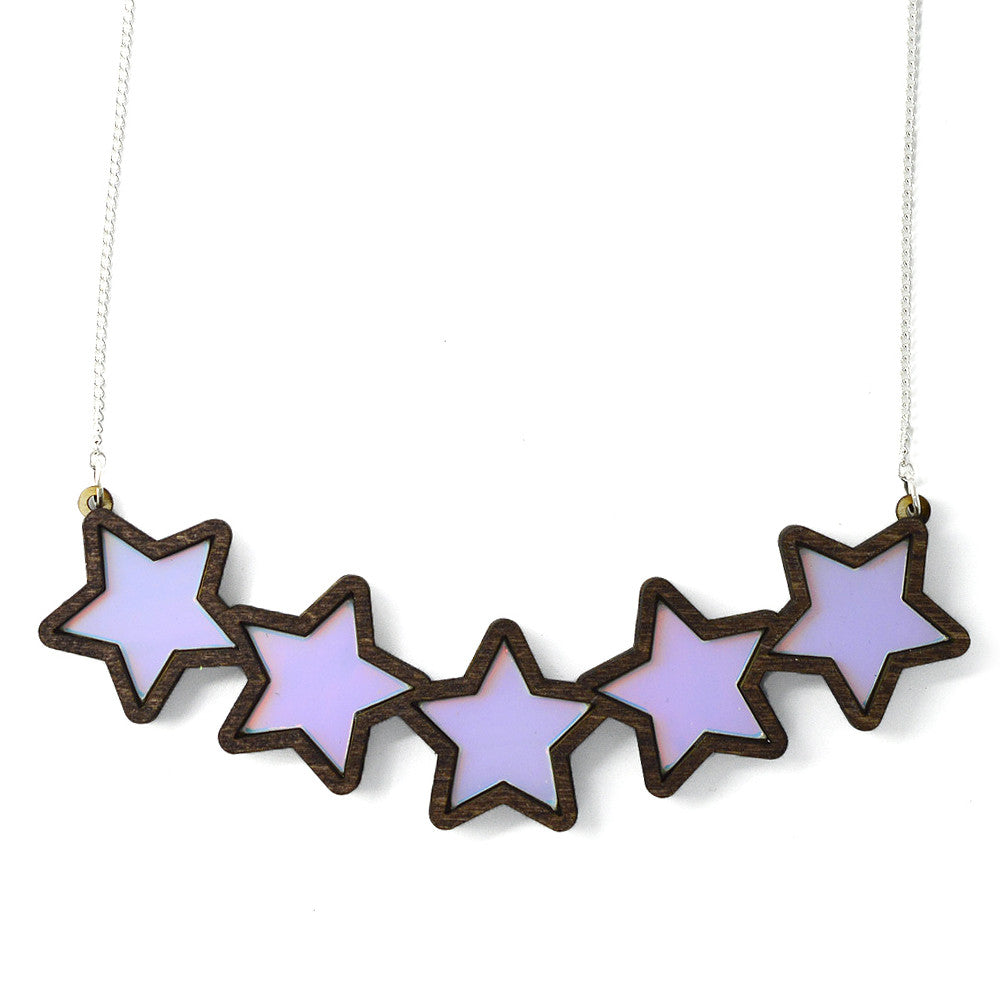 Five Iridescent Stars Necklace