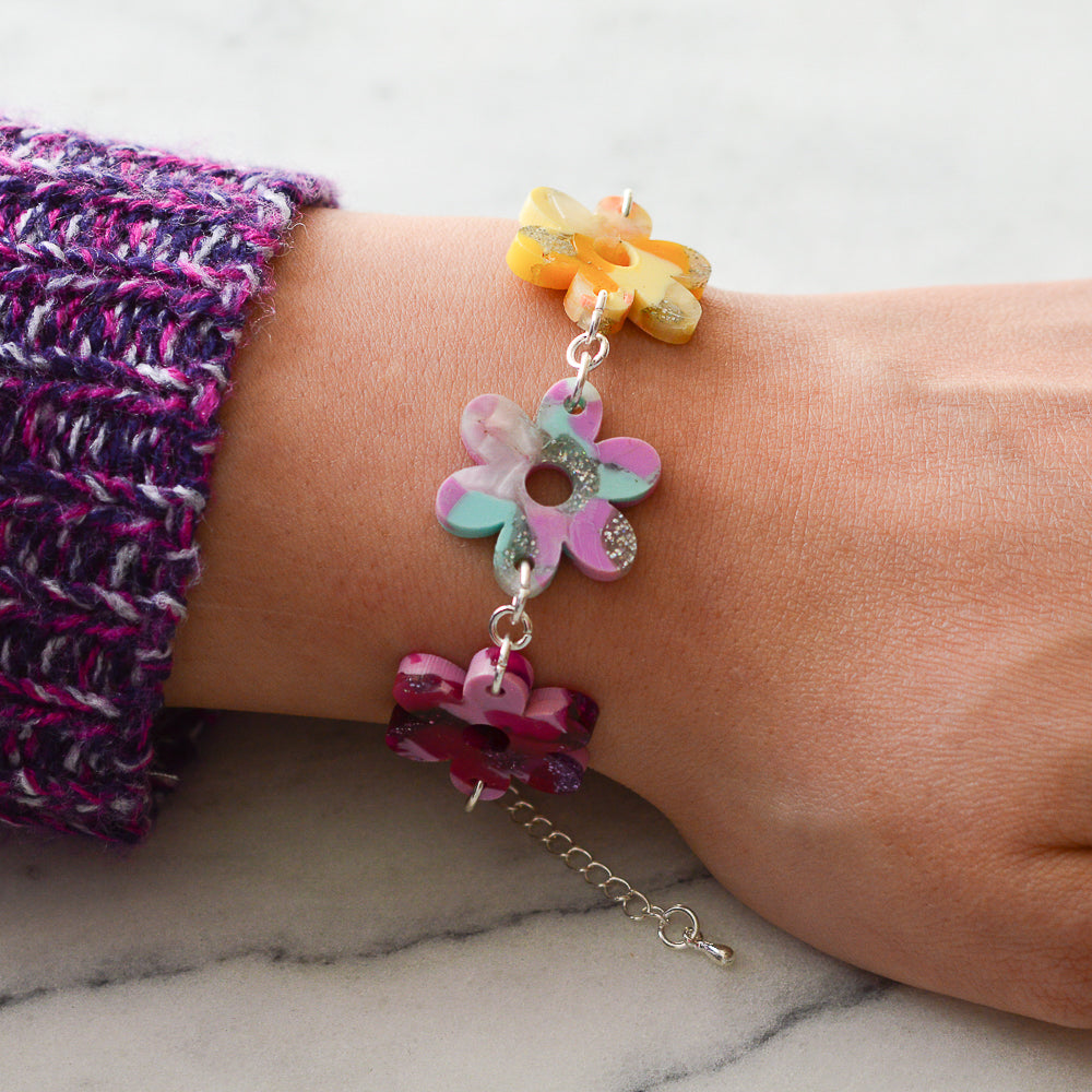 Recycled Acrylic Flower Power Bracelet