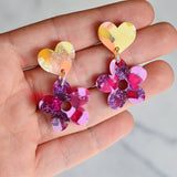 Recycled Acrylic Flower Power Heart Dangle Stud Earrings