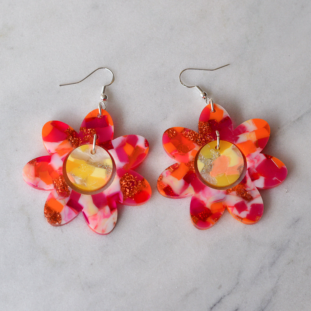 Recycled Acrylic Flower Power Statement Dangle Earrings