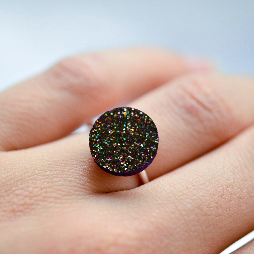 Glitter Dot Sterling Silver Rings
