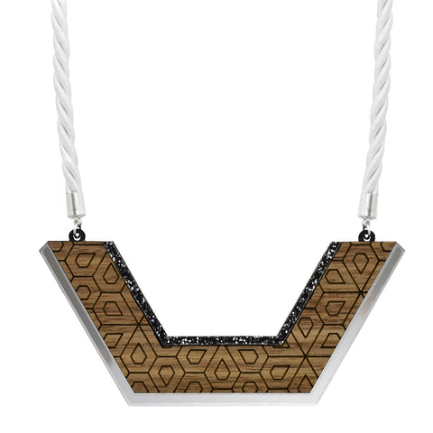 Leather Inlay Necklace - Chevron