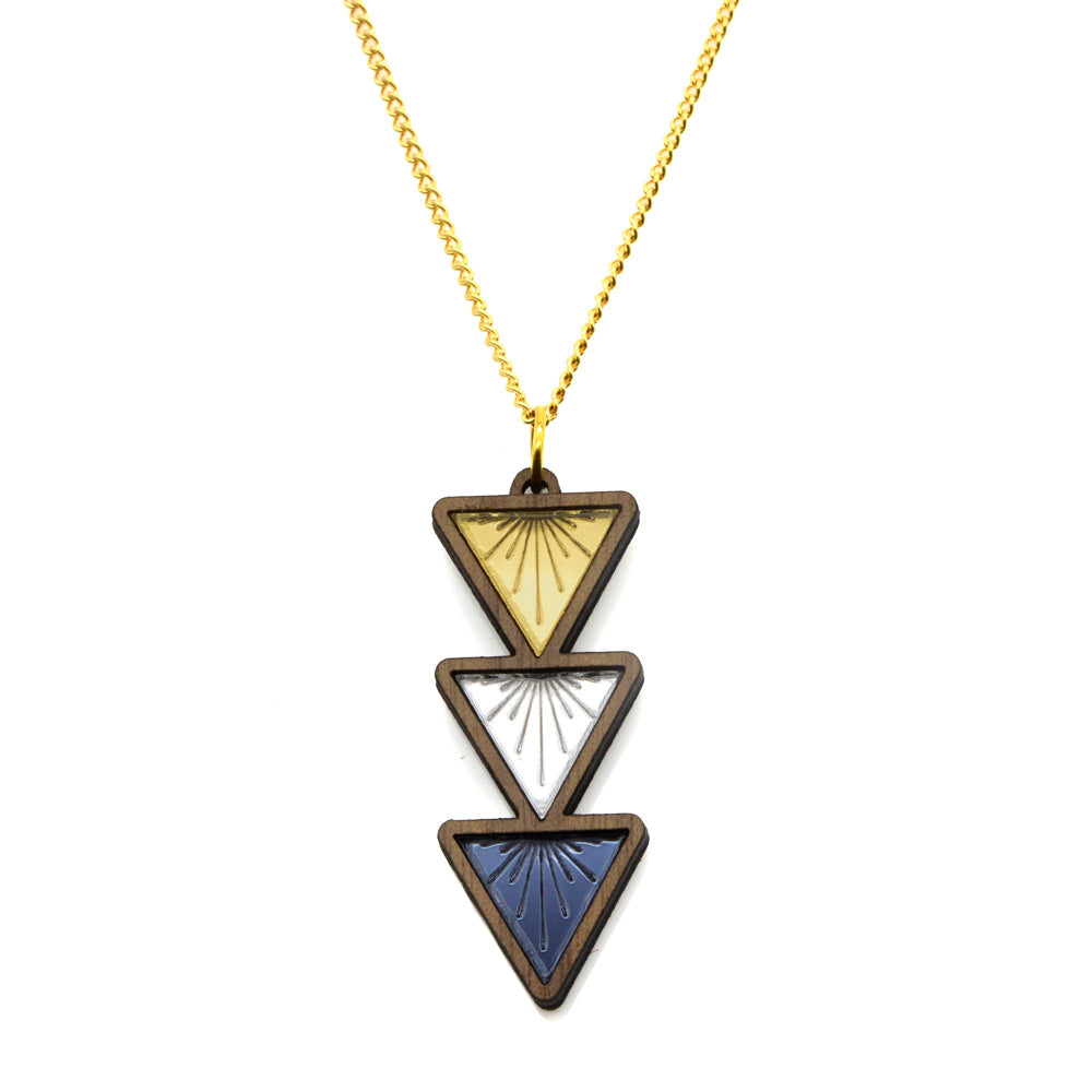 Sunburst Triple Drop Triangle Necklace