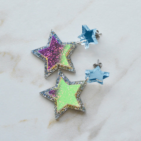 Glitter Amulet Stud Earrings *REDUCED/ SLIGHT SECONDS*