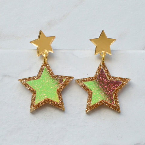Statement Iridescent Star Brooch