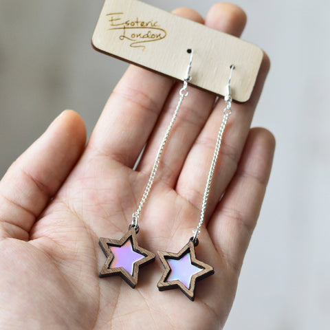Triple Iridescent Star Dangle Stud Earrings