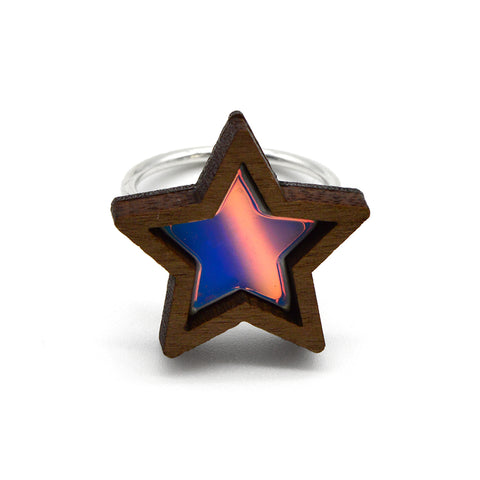 Glitter Dot Sterling Silver Ring - Salmon Pink