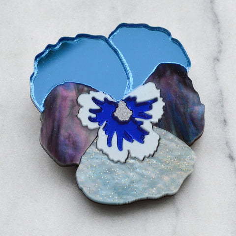Watercolour Pansy Brooches