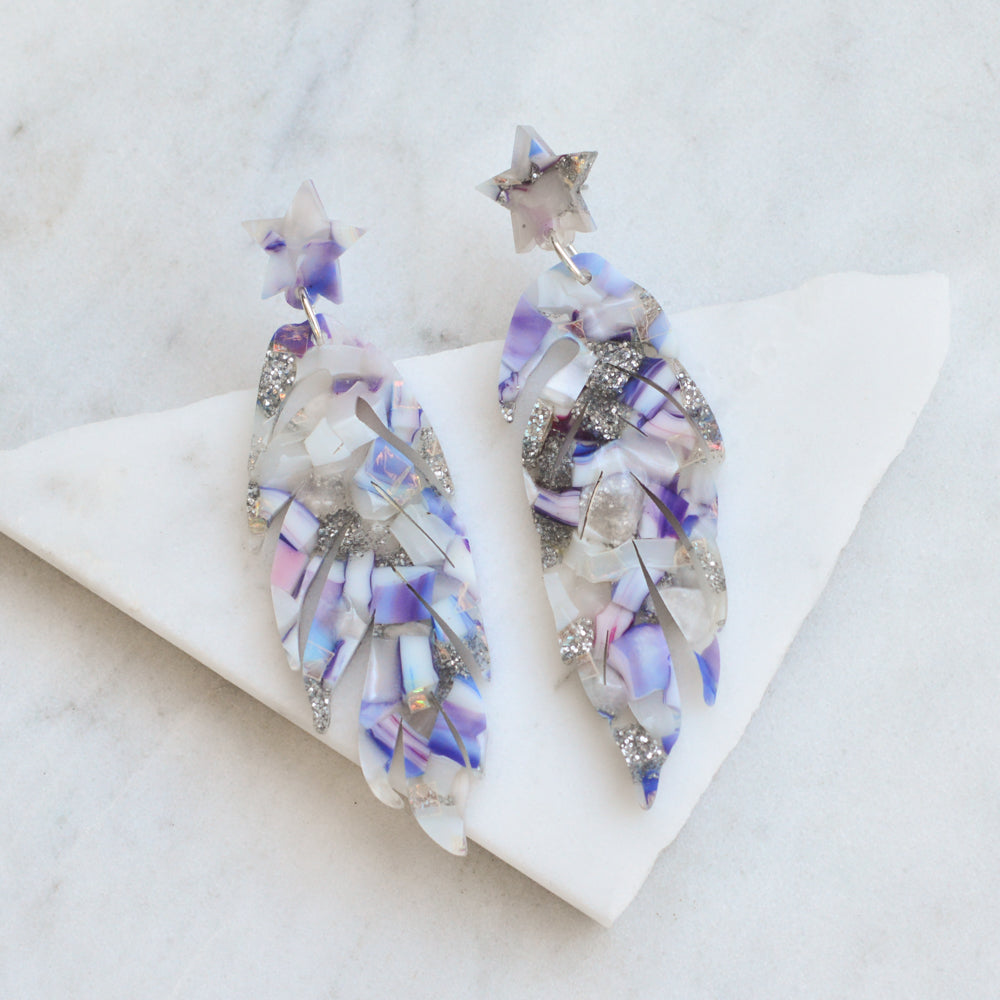 Recycled Acrylic Leaf/ Feather Earrings