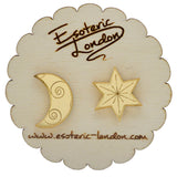 Star and Moon Mirrored Stud Earrings