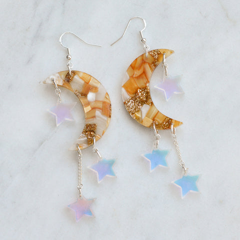 Recycled Acrylic Moon Earrings