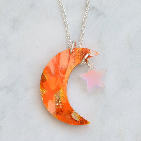 Recycled Acrylic Moon Necklace