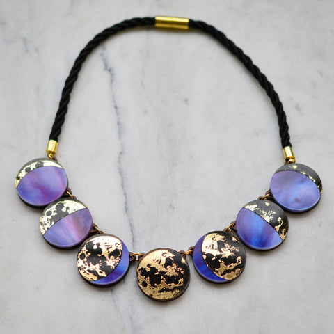 Moon Phase Statement Necklace - Gold & Purple