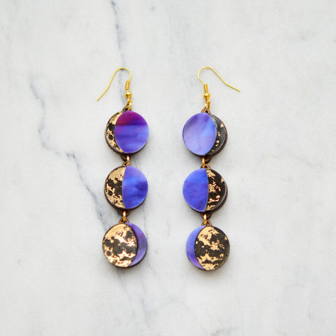Moon Phase Long Dangle Earrings - Gold & Purple