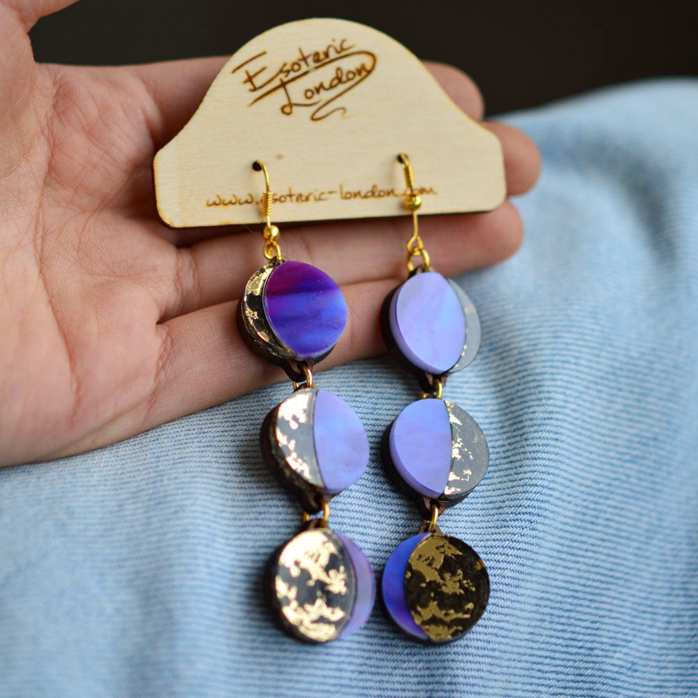 Moon Phase Long Dangle Earrings