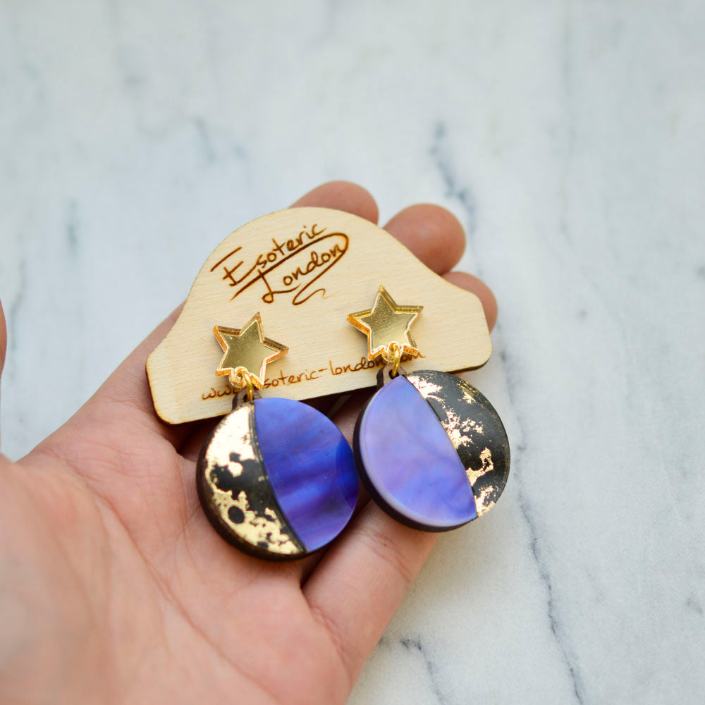 Moon Phase Dangle Studs - Gold & Purple
