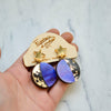 Moon Phase Dangle Studs - Purple, Lilac & Blue