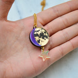 Moon Phase Pendant Necklace -  Purple, Lilac & Blue