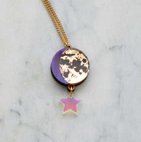 Moon Phase Pendant Necklace - Gold & Purple