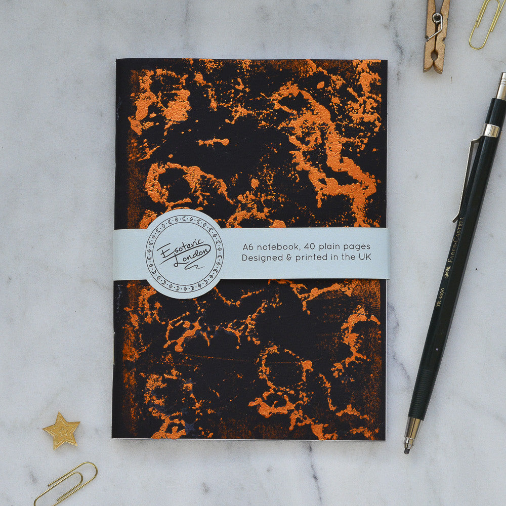 Orange Foil Printed Galaxy Notebook