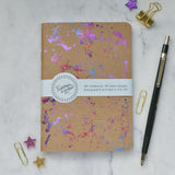 Peacock Kraft Foil Printed Galaxy Notebook