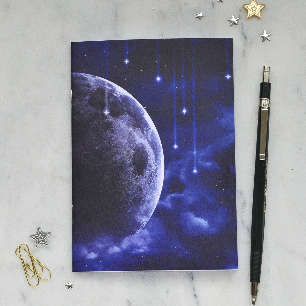 Falling Stars & Moon Notebook