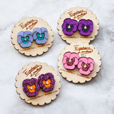 Textured Pansy Stud Earrings