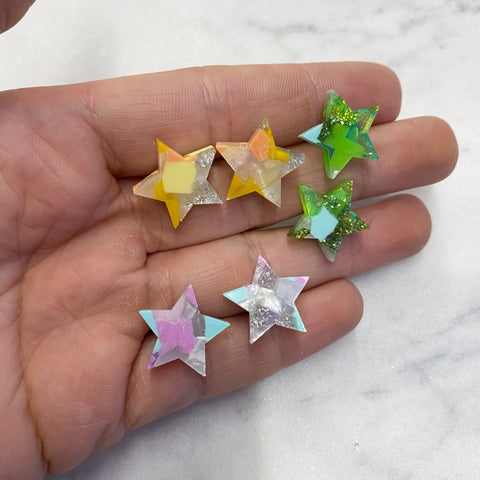 Recycled Star Stud Earrings