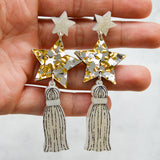 Star Tassel Dangle Stud Earrings
