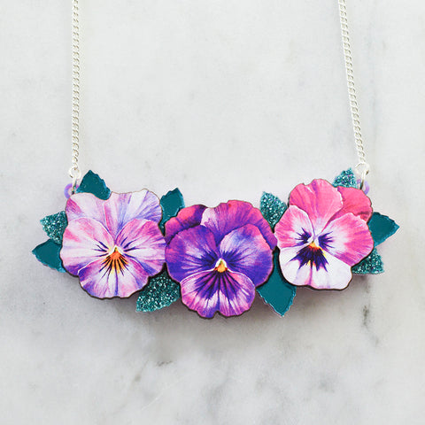 Textured Pansy Necklaces