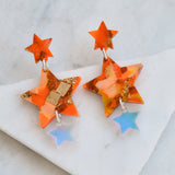 Recycled Acrylic Star Dangle Earrings