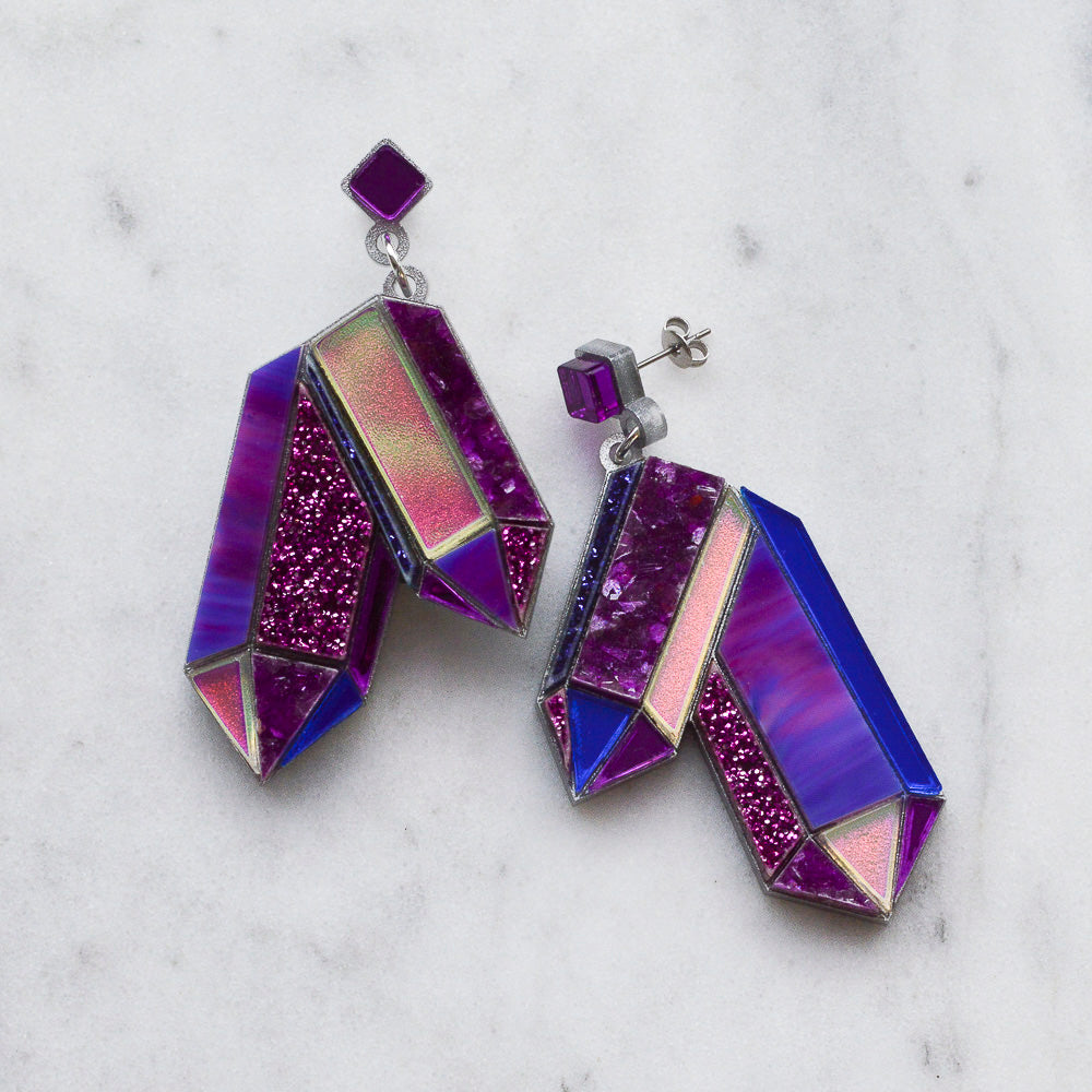 Textured Amethyst Earrings