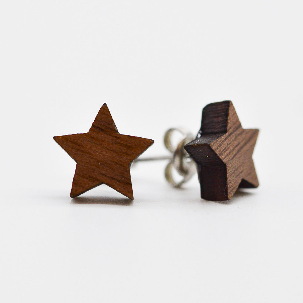 Tiny Wooden Star, Moon & Lightning Stud Earrings Set