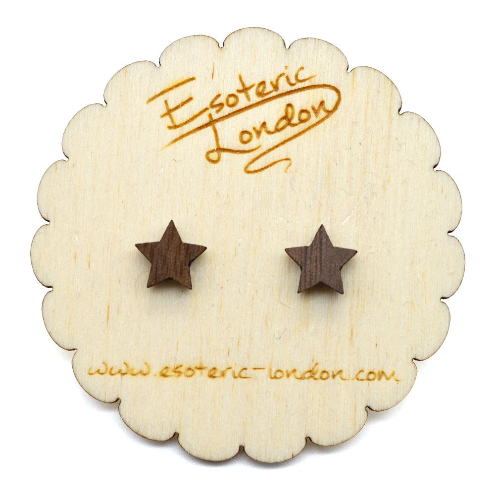 Tiny Wooden Star Stud Earrings