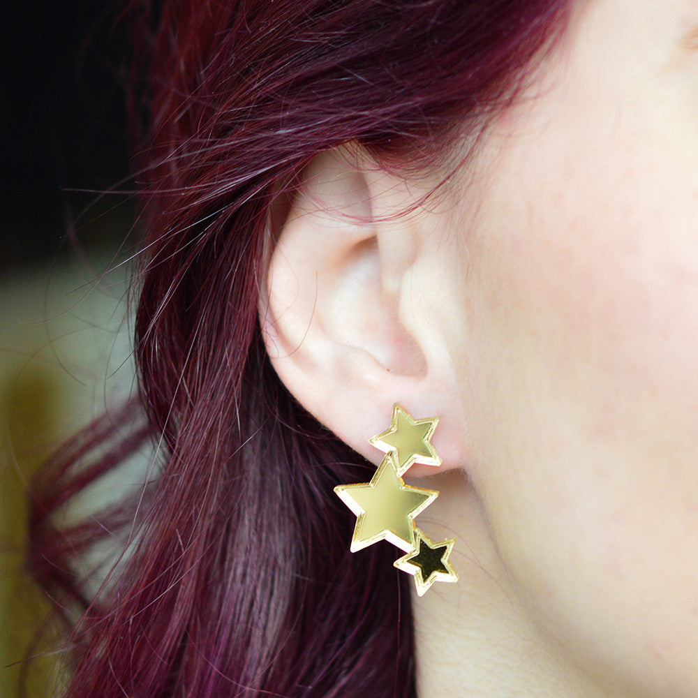 Triple Stars Mirrored Stud Earrings