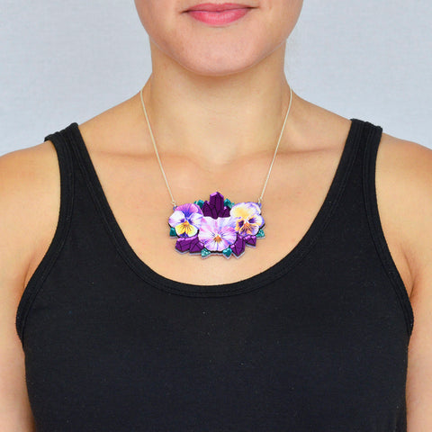 Watercolour Pansy & Mirror Amethyst Crystal Geode Necklace