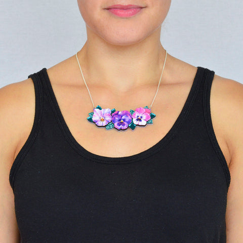 Small Watercolour Pansy Bib Necklace