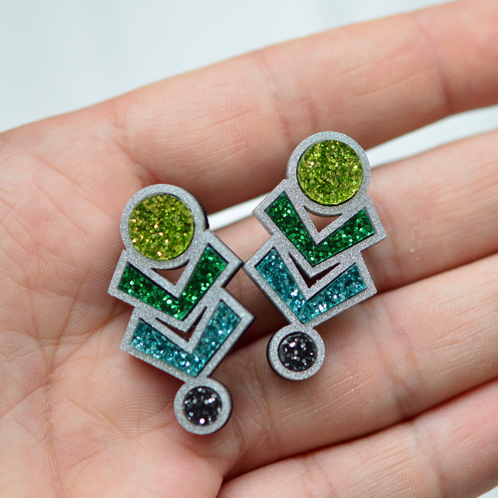 Glitter Amulet Stud Earrings