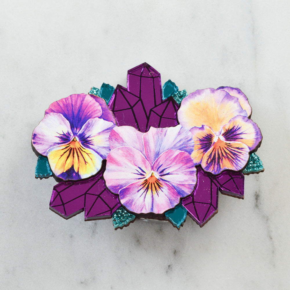 Watercolour Pansy & Mirror Amethyst Crystal Geode Brooch