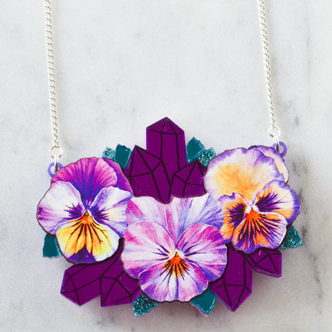 Textured Pansy Necklace *REDUCED/ SLIGHT SECONDS*