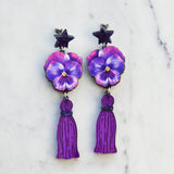 Watercolour Pansy Star Tassel Earrings