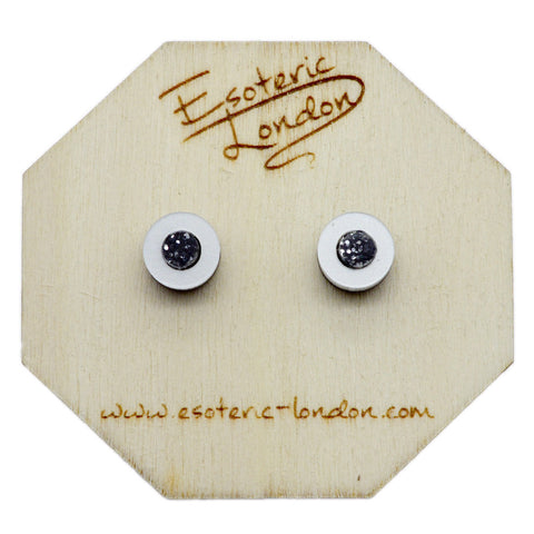 Tiny Wooden Moon Stud Earrings