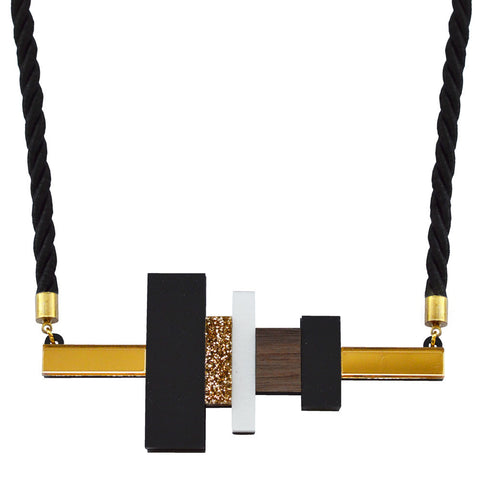 Leather Inlay Necklace - Diamond
