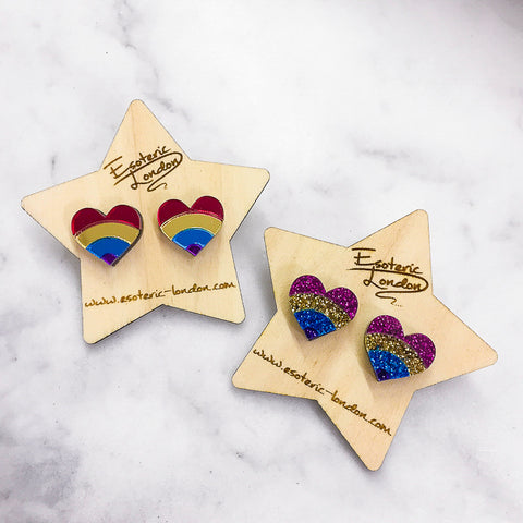Heart Rainbow Brooches/ Pins