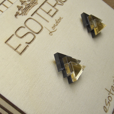 Geometric Stud Earrings - Grey/ Bronze/ Gold