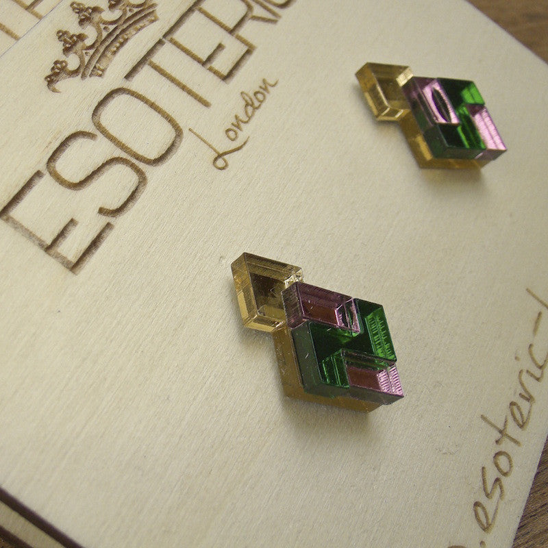 Geometric Stud Earrings - Gold/ Pink/ Green