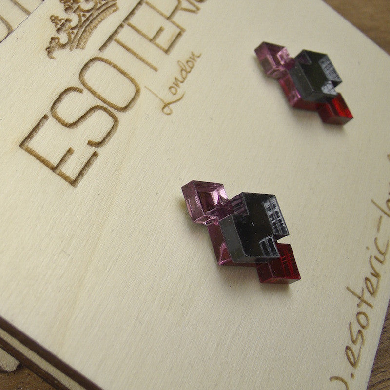 Geometric Stud Earrings - Pink/ Grey/ Red