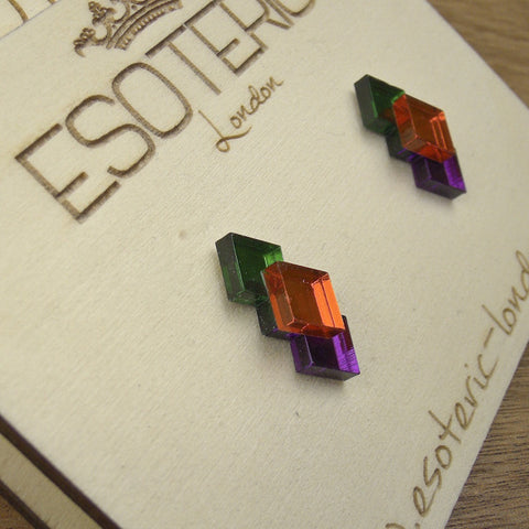 Geometric Stud Earrings - Orange/ Green/ Purple