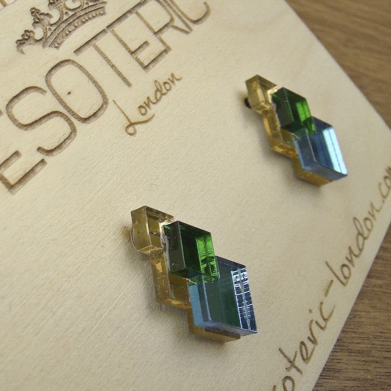Geometric Stud Earrings - Gold/ Green/ Blue